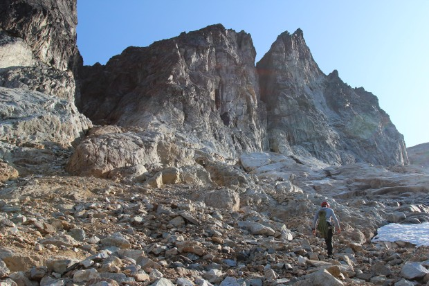 Me approaching Mount Terror from Crescent Creek to climb the West Ridge. The climb begins in the deep dark gully on the left and eventually climbs to the crest of the ridge with class 3 and 4 scrambling to the top. Photo by Tim Black.