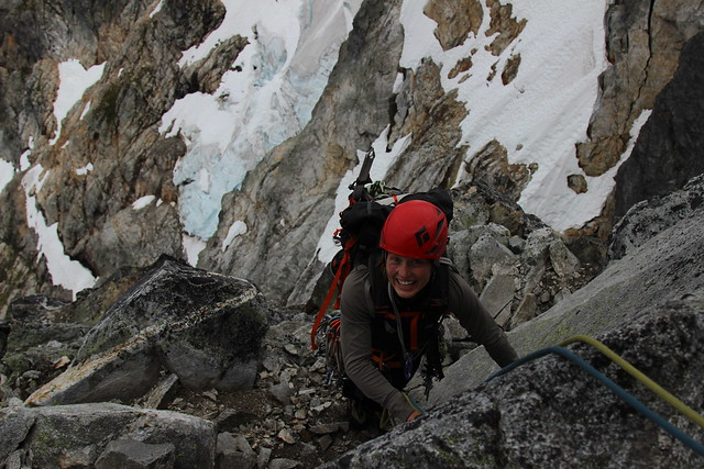 Mallorie Estenson on Inspiration's East Ridge in the southern Picket Range.
