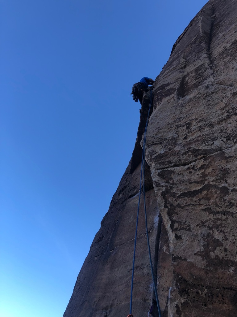 Pitch 2 on Triassic Sands rock climb in Red Rock Canyon, Las Vegas.